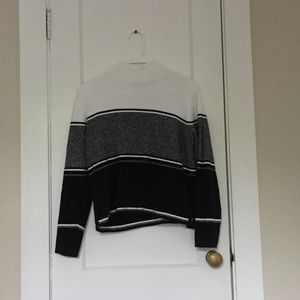 Striped Black and White Vintage Sweater Mock Neck